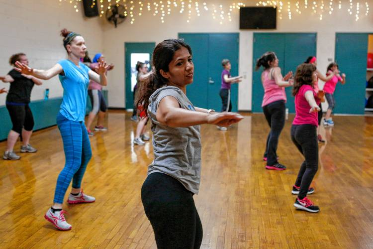 Atri Guhanarayan Of Holyoke Center Dances March 25 2017 During Doonya An Aerobic Bollywood Dance Cl At The Ymca In Greenfield