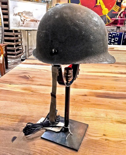 Delicieux An Old Military Helmet Is Used As A Shade On This One Of A Kind Lamp By  Blue Ocean Traders. PITTSBURGH POST GAZETTE