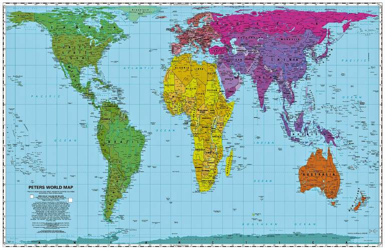 Peters World Maps Transfer The D Globe To A Flat Surface - Flat globe map