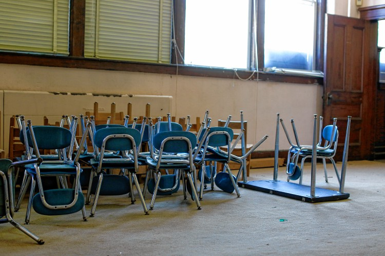 Kindergarten Chairs Are Shown Inside An Old Classroom Inside The Former  Center School May 10 In Hatfield. SARAH CROSBY/Daily Hampshire Gazette