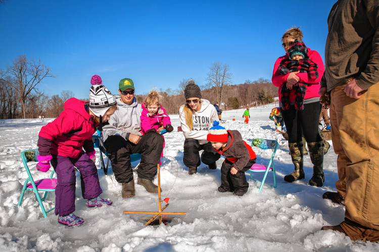 Ice fishing derby in conway hooks 40 children for Ice fishing derby