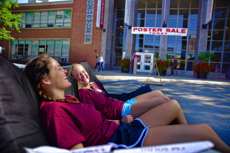 Take A Quick Break In The Sun While Attempting To Move Futon At Southwest Residential Area Sunday On University Of Machusetts Campus