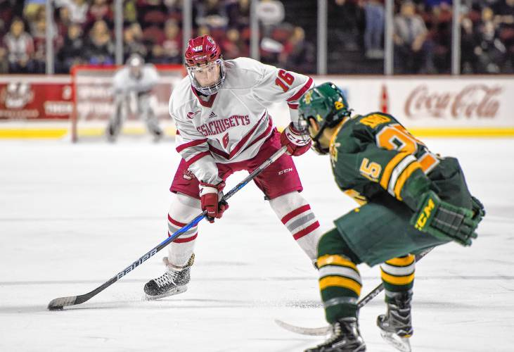 UMass defenseman Cale Makar looks to make a play against Vermont 55cb534c7