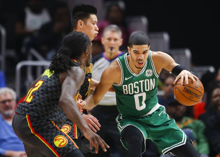 7dd9d29042d1 Boston Celtics forward Jayson Tatum (0) battles Atlanta Hawks guard Jeremy  Lin (7) in the second half of an NBA basketball game on Saturday
