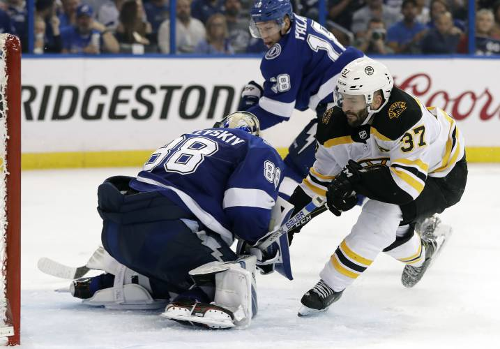 28641f04650 ... (37) tries to stuff the puck past Tampa Bay Lightning goaltender Andrei  Vasilevskiy (88) during the third period of Game 5 of an NHL second-round  hockey ...
