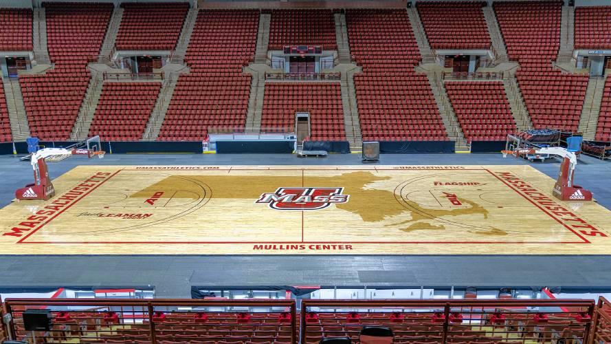 Umass Unveils New Mullins Center Basketball Floor Men S Tv Schedule Announced