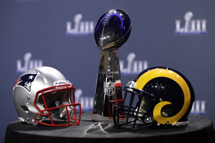 eb0428534 The Vince Lombardi Trophy is displayed before a news conference for the NFL Super  Bowl 53 football game Wednesday
