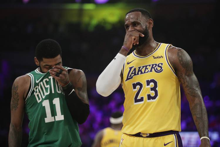 check out 0cb66 3f55a Kyrie's 30 propel Celtics past LeBron's Lakers, 120-107