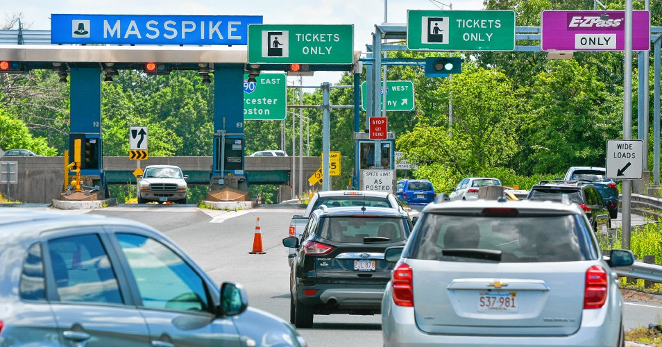 Motorists wait to enter the Massachusetts Turnpike in Chicopee earlier this summer. The Massachusetts Department of Transportation will launch its new ...